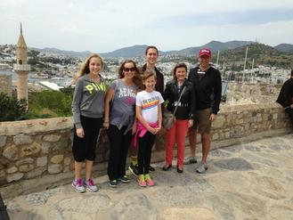 Oeler Family with our tour guide Yesim visiting Bodrum Castle