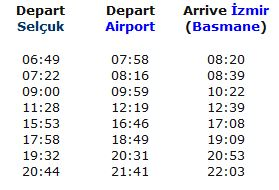 Selcuk > Izmir Airport Train Schedule