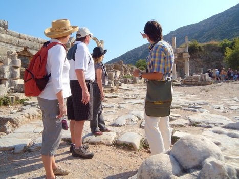 Tour guide explaining Ephesus