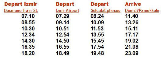 Izmir Airport > Selcuk Train Schedule