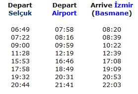 Selcuk to Izmir Airport Train Schedule